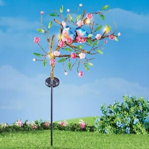 Solar Powered Couple of Bluebirds on a Branch of Pink Flowers Garden Yard Stake
