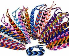 #4438 Assorted Colors Pack 25 Cotton Bracelets Woven Pattern Adjustable Peru