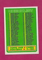 1983 TOPPS # 394 UNMARKED FOOTBALL CHECKLIST NRMT+  CARD (INV# A6137)
