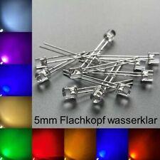 5mm LEDs Flachkopf wasserklar alle Farben inkl. Widerstände Leuchtdioden LED