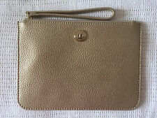 NEW Oroton Melanie Soft Pebble Leather Large Zip Pouch Clutch Pale Gold rrp $145