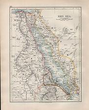 1904 ANTIQUE MAP ~ RED SEA ~ EGYPT NILE DELTA ARABIA TIGRE ERITREA