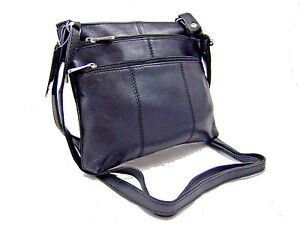 REAL LEATHER WOMANS SMALL SHOULDER BAG TRAVEL BAG POUCH CROSS BODY BAG BLACK D12