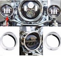 "Bikers Choice Headlight Trim Ring Chrome 4.5"" Visor Style Passing Lamp Trim Ring"