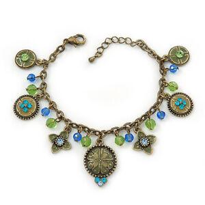 Vintage Inspired Floral, Bead Charm Bracelet In Bronze Tone (Olive Green, Light