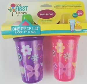 The First Years Soft Spout Sippy Cup 9 Oz Baby Cup 2pk Purple/Pink