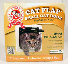 """New listing Ideal Pet Products 6 1/4"""" x 6 1/4"""" Small Cat Door 4 Way Lock Flap White"""