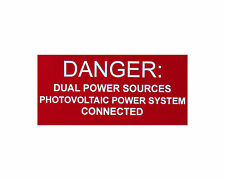 """Solar Label plastic placard engraved 4x2"""" engraved Warning Dual Power Sources"""