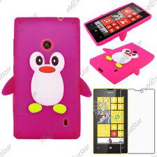 Coque Housse Etui Silicone Souple Motif Pingouin Rose Nokia Lumia 520 + Verre