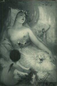 Hans Schlimarski Nude Woman & Cherub Sheet Music VENUS Wagner Postcard