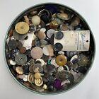 Huge Lot of Antique Vintage Buttons Metal Black Glass Mop Shell Brass