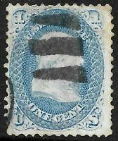 "Sc #63 1863 ""Bars"" Fancy Cancel Franklin 1 Cent 1861-1862 Civil War US 93B55"