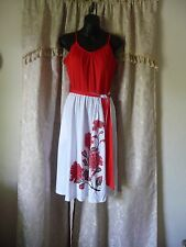Vintage Alfred Shaheen Women's Dress Red and White Summer Dress