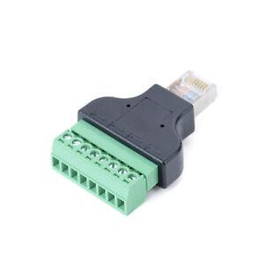 RJ45 Ethernet Male Plug to 8 Pin AV Terminal Screw Adapter Converter For DVR DIY