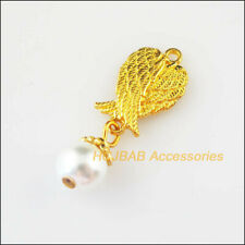8Pcs Gold Plated Animal Wings White Glass Beads Charms Pendants 11x30mm