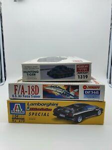 Toy models bundle lot Lamborghini, FA18 Jet, Tiger Tank. Vintage new old stock
