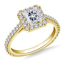 14K Solid Yellow Gold Rings 0.97 Ct VVS1 Princess Diamond Engagement Ring Size 6