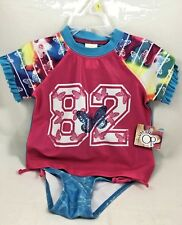 OP Baby Toddler Girl 2-piece Swimwear Rashguard Set, (Butterflies) Sz. 3T