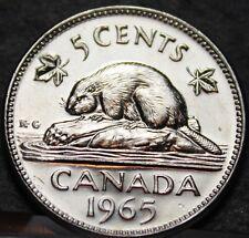 Canada 5 Cents, 1965 Gem Unc~Beaver Nickel~Free Shipping