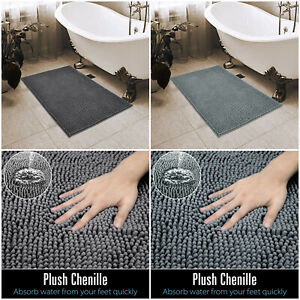 Memory Foam Water Absorbent Small Bathroom Chenille Rug Soft Thick Grey Loop Mat