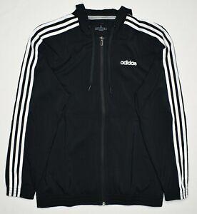 Adidas #10345 NEW Men's Full Zip Hooded 3-Stripe Lightweight Woven Jacket $65