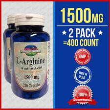 2 Pack L-Arginine 1500mg/per serving size Supply Made USA HIGHEST Pharma Grade