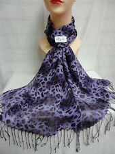 LEOPARD PRINT PATTERN LIGHT WEIGHT WRAP OR SCARF COLOR PURPLE