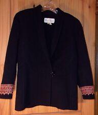 Oscar de la Renta Black Wool Car Coat w/ Embroidered Cuffs, Womens 8