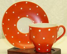 Old Upsala Ekeby Gefle Amanita Sweden Orange Red & Polka Dot Cup Saucer Set