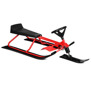Winter Fun Snow Racer Sled w/Steering Wheel Double Brakes Pull Rope Kids &Adults