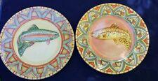 Splash by Siddhia Hutchinson 2 Multi-Color Stoneware Fish Dinner Plates Trout