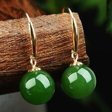 10mm Natural Green Jade Round Gemstone 14k Gold Plated Hook Dangle Earrings