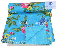 Indian Embroidery Kantha Quilt Bedspread Floral Throw Cotton Turquoise