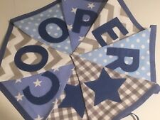 PERSONALISED FABRIC BUNTING  Spots Stripes Stars BABY BOYS Blue/Grey Mix