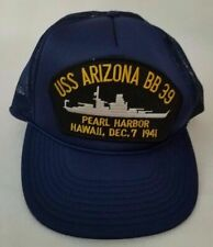 USS Arizona BB-39 Snapback Mesh Hat Vintage Navy Ship Pearl Harbor Hawaii Blue