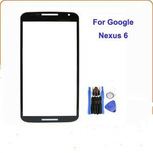 Black Front Outer Screen Glass Lens For Motorola Google Nexus 6 XT1100 XT1103