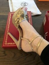 $1195 Rene Caovilla BRIDAL Gold Lace Crystal Jeweled High Heels Sandal Shoes 36
