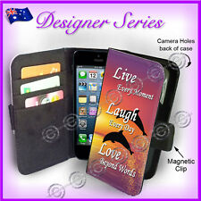 Designer Apple iPhone 5C Wallet Flip Card Case Live Laugh Love Dolphin Sunset 32