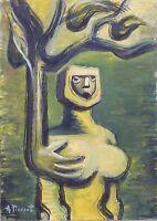 Andre Pierret dessin huile signé Bruxelles Surréalisme Erotic