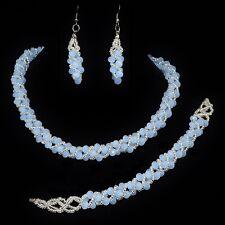Parure de bijoux mariage 3 pièces collier bracelet boucles d'oreilles ton bleu