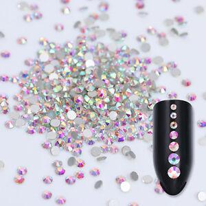 1440pcs Nail Rhinestones Glitter Crystal AB Color 3D Nail Art Decor Gems Tips