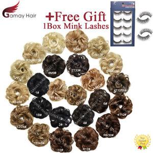 Curly Messy Rose Bun Hair Piece Updo Scrunchie Ponytail Natural As Human Hair