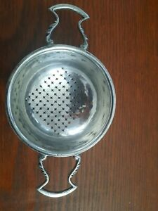 Vintage & Rare Currier & Roby Over-Cup Sterling Double Handle Tea Strainer