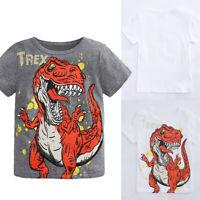 Toddler Baby Kids Boys Short Sleeve Cartoon Dinosaur Print Tops T-Shirt Clothes
