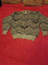 Colorel Sweater , Sz XLG, black and grey with dark brown leather chevrons