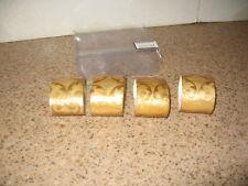 Napkin Rings / Napkin Ring Holder, Set Of 4 Gold Colored Embossed Design VGUC