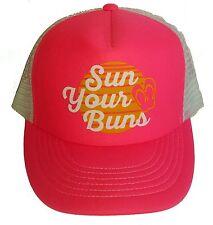 Sun Your Buns Neon Pink Ladies Snapback Mesh Trucker Hat Cap