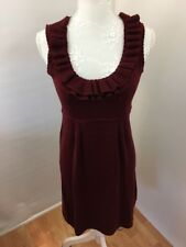 Nanette Lapore Merino Wool Dress Sz S Ruffle Scoop Neck Maroon Hi Waist