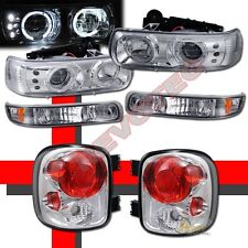99-02 Chevy Silverado Stepside Halo LED Projector Headlights +Bumper+Tail Lights