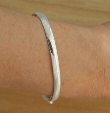 Solid 925 Sterling Silver Bangle Bracelet Oval D-Shape 60mm x 50mm Jewellery